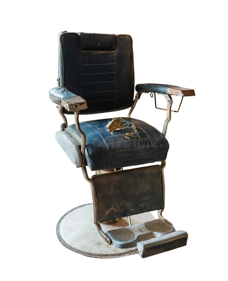 Old Vintage barber chair on white background stock images