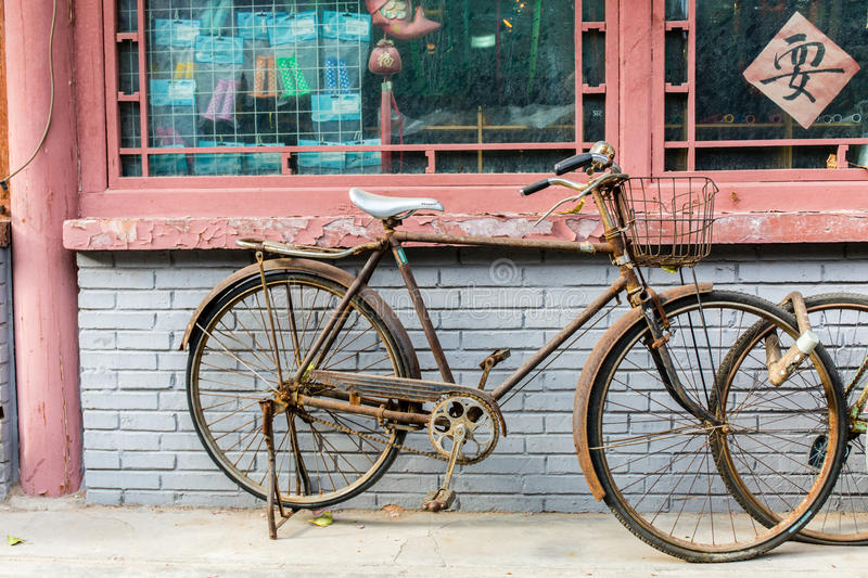 Old vintage bicycle stock photography