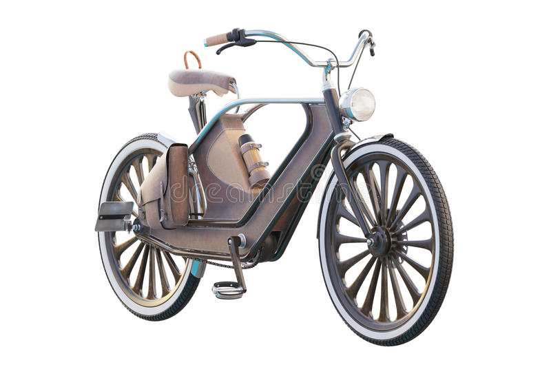 Old vintage bicycle. Steampunk style. On a white background. 3d render stock illustration