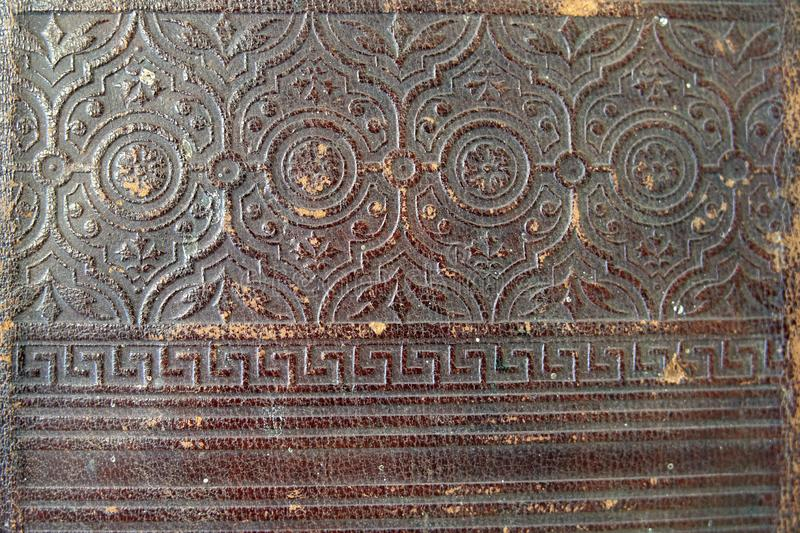 Old vintage book cover texture.Close-up ornament stock photography