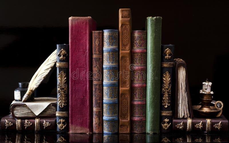 Old vintage books. On black royalty free stock photo