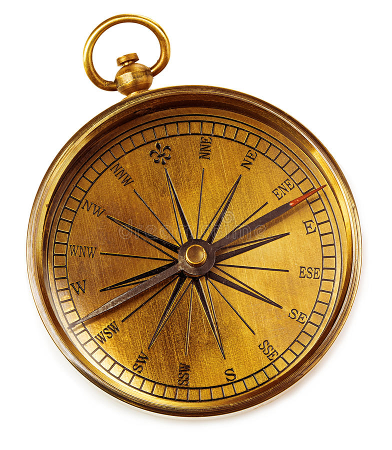 Old vintage brass compass isolated on a white background. stock photo