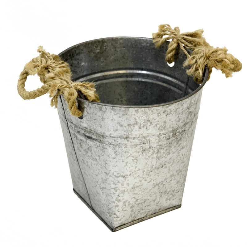 Old vintage bucket. With rope stock photo