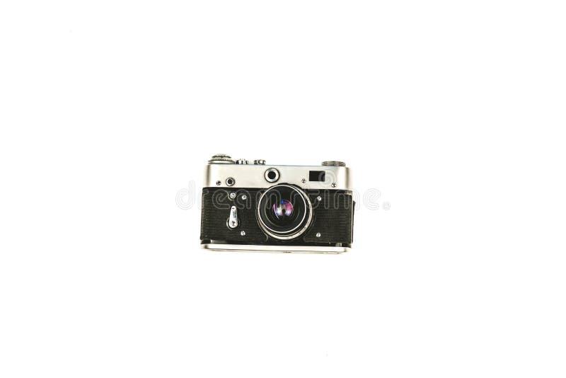 Old vintage camera isolated on white background stock photo