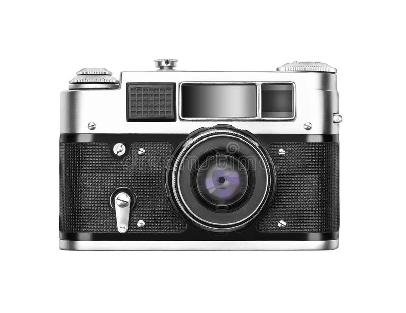Old vintage camera isolated on white background stock images