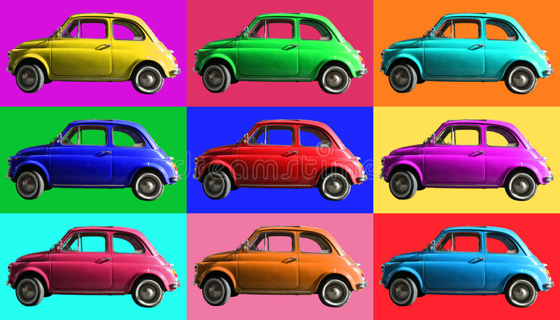 Old vintage car collage colorful. Italian industry. On coloured cells. A small, antique car vintage Italian-made of white cropped. Composition of small vintage vector illustration
