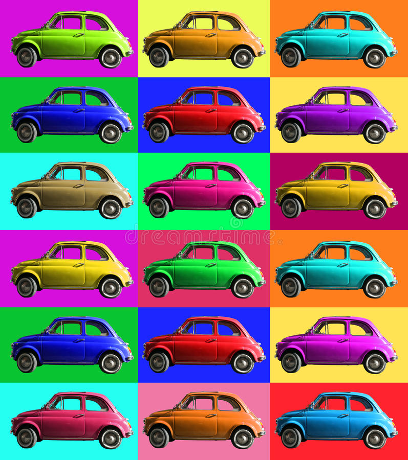 Old vintage car collage colorful. Italian industry. On coloured cells. A small, antique car vintage Italian-made of white cropped. Composition of small vintage stock illustration