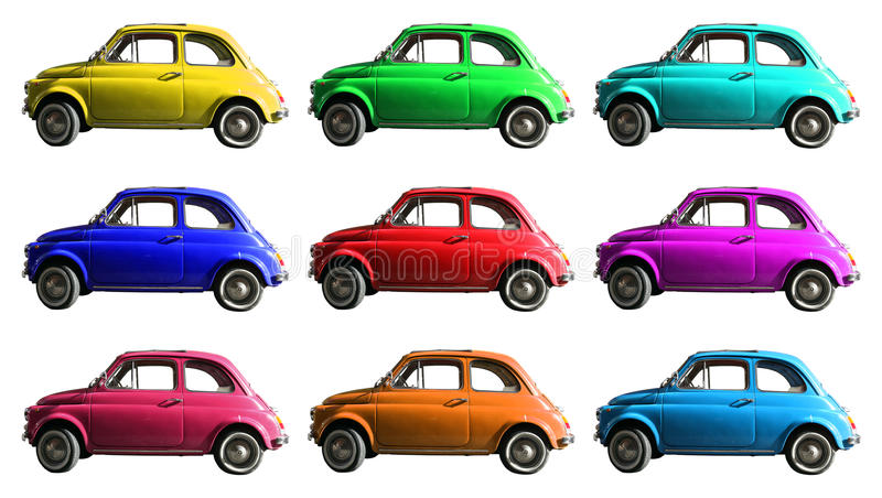 Old vintage car collage colorful. Italian industry. On white cropped. A small, antique car vintage Italian-made of white cropped. Composition of small vintage royalty free stock image