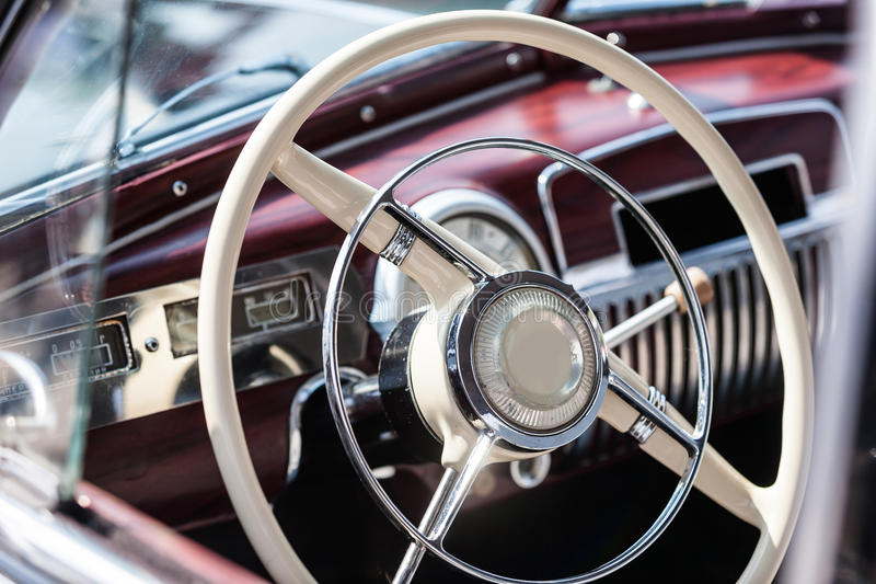 Old vintage car. Interior of a classic vintage car royalty free stock photography