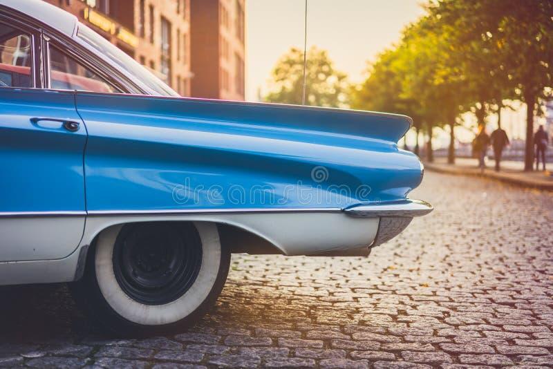 An old vintage car near warehouse district of Hamburg. Speicherstadt royalty free stock photos