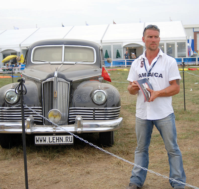 Old vintage cars shown at exhibition stock photography