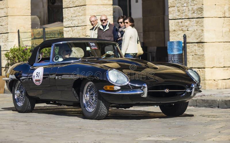 Old vintage classic car jaguar e type black royalty free stock photos