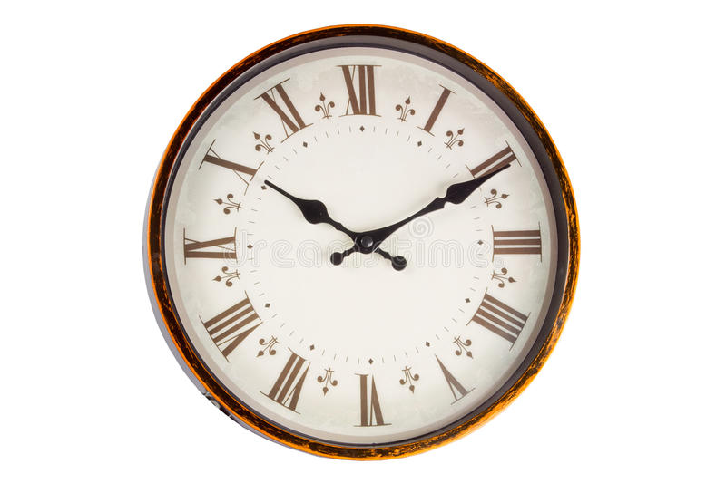 Download Old Vintage Clock Face On White Background Stock Photo - Image: 40675711