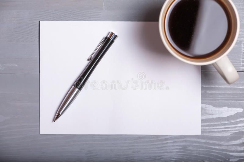 Old vintage coffee pen sheet paper letter business wooden background stock photos