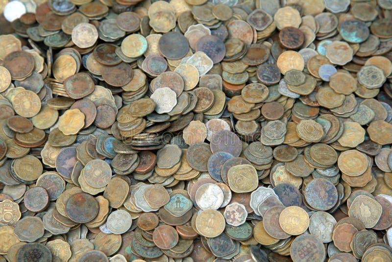 Old vintage coins. Old indian vintage coins background stock images
