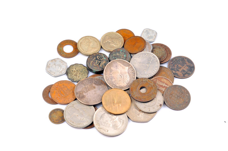 Old vintage coins. Isolated on white background stock photography