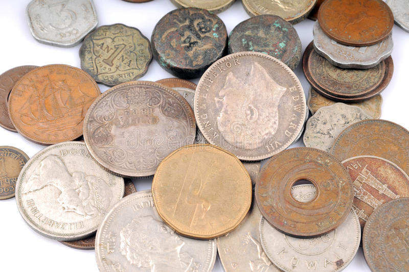 Old vintage coins. Isolated on white background royalty free stock photo
