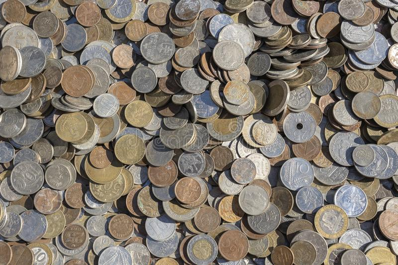 Old vintage coins background for sale for tourists in the Ukrainian market on the street in Kyiv, Ukraine. Close up. Top view stock images