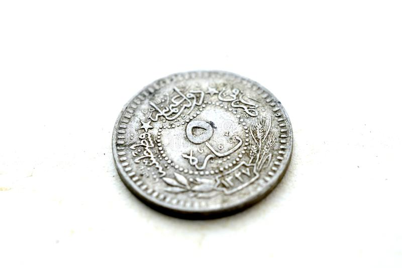 Old vintage coins stock photo