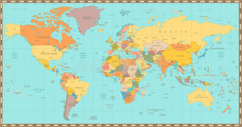 Old vintage color political world map stock vector illustration of download old vintage color political world map stock vector illustration of geography global gumiabroncs Choice Image