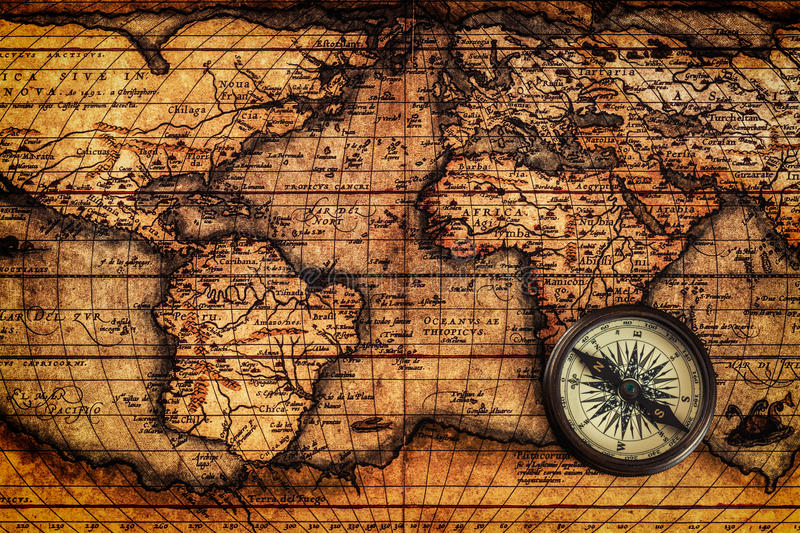old vintage compass on ancient map stock image image of world metal 59929591. Black Bedroom Furniture Sets. Home Design Ideas