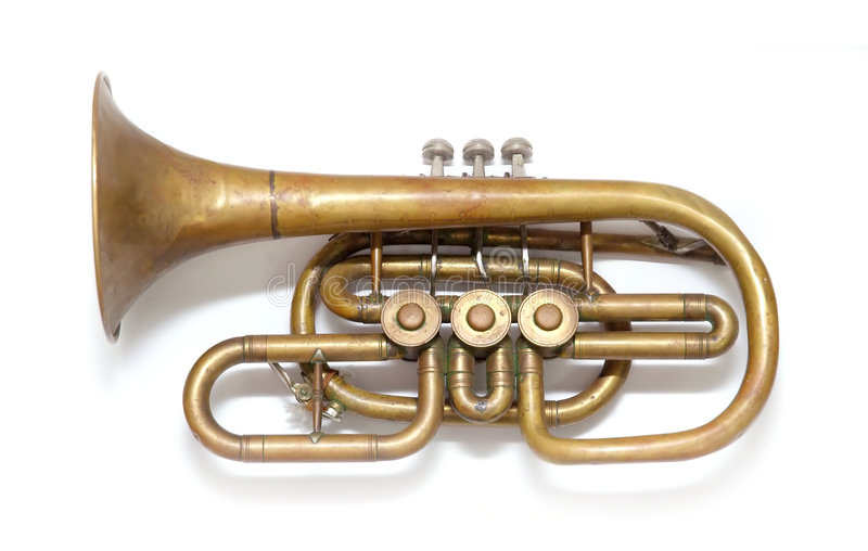 Old vintage copper trumpet stock photos