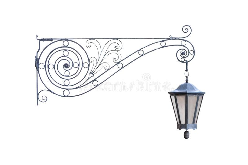 Old vintage decorative hanging street lamp isolated on white background. Real picture, front view of one cut out object royalty free stock image