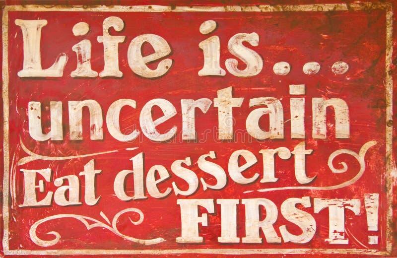 Old vintage dessert sign royalty free stock photo