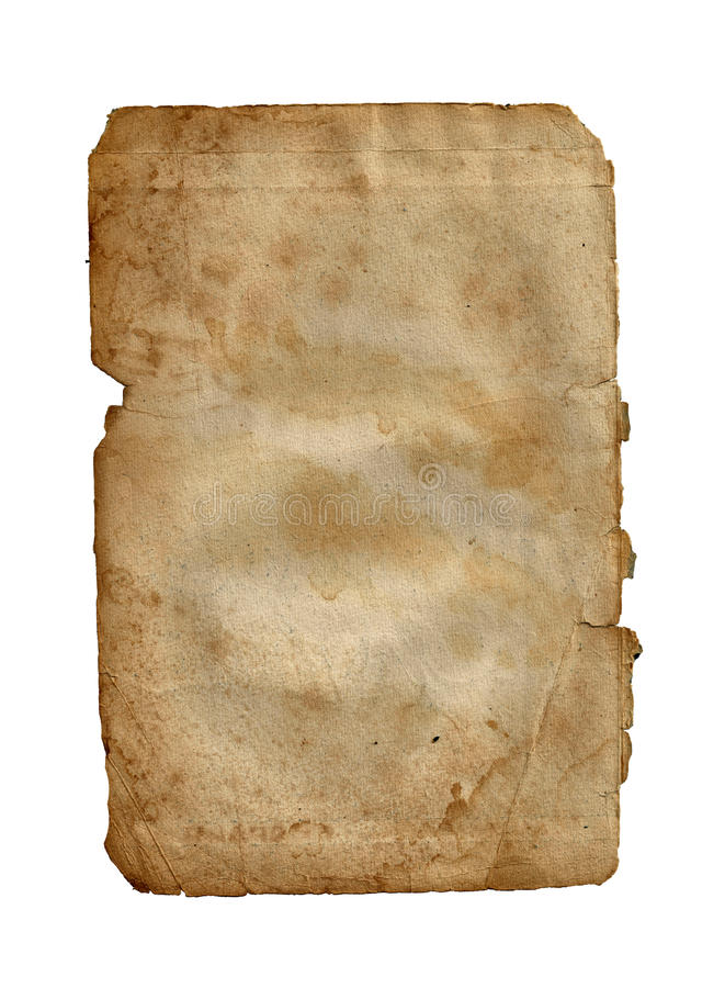 Old vintage dirty torn blank page book on a white royalty free illustration