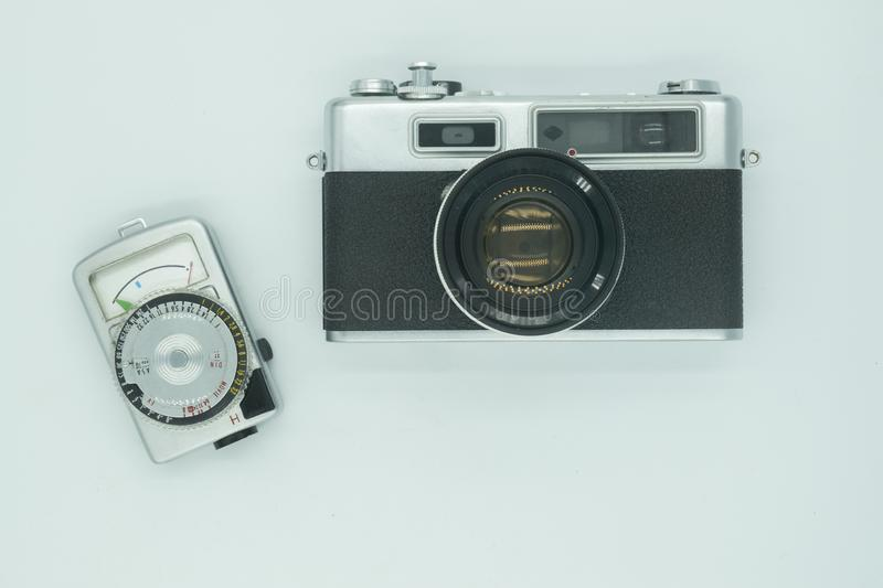 Old Vintage Film Camera  and light meter Preparing for Travel stock photography
