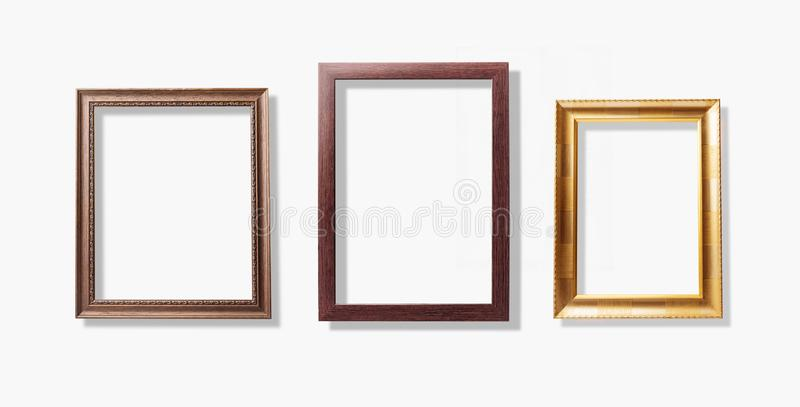 Old vintage frames , wood picture frame isolate on white background royalty free stock photo