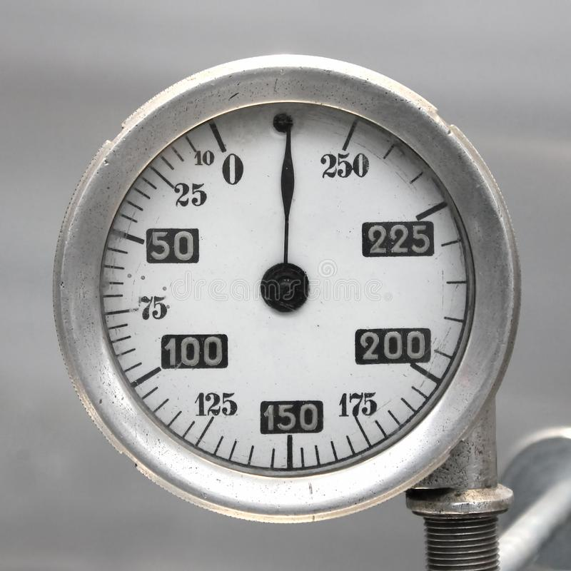 Old Vintage German Airplane Fuel gage, scale with an arrow, , 0-250 liters stock images