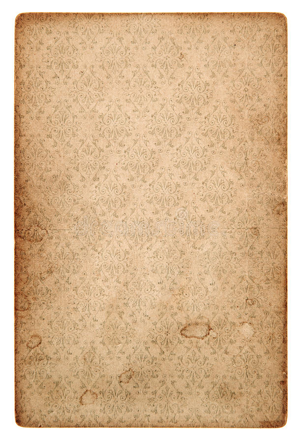 Old vintage grunge paper sheet with pattern. Isolated on white background stock photography