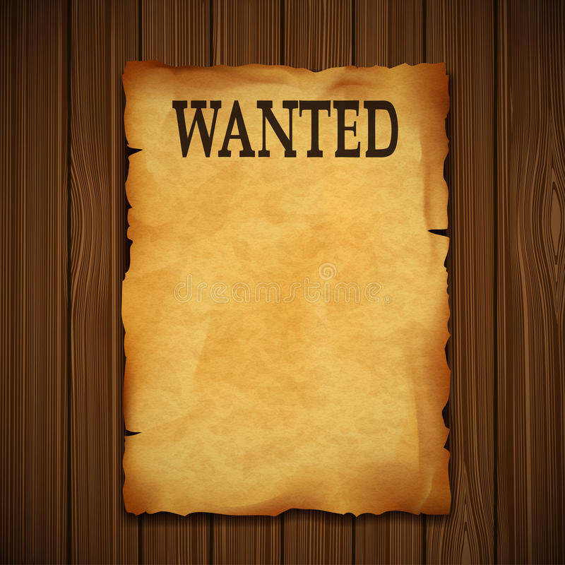 Old vintage grunge western poster with the inscription is wanted vector illustration