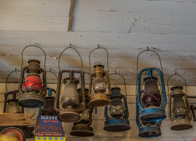 Old vintage lanterns hanging from the ceiling royalty free stock photo