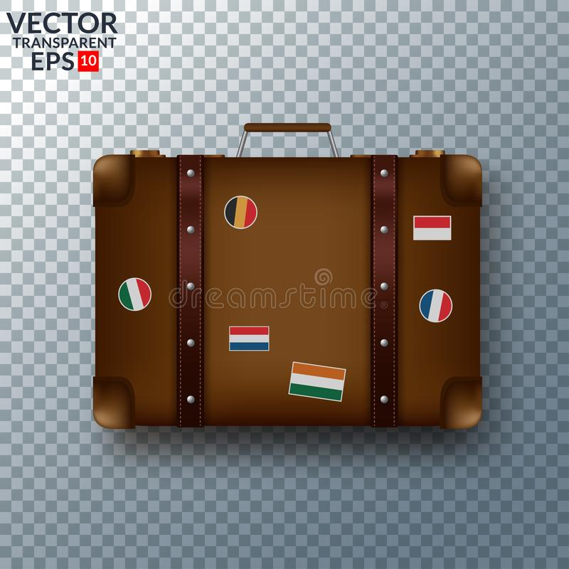 Old vintage leather suitcase with travel stickers stock illustration