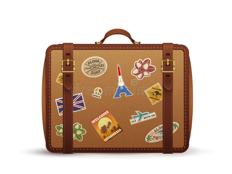 Old vintage leather suitcase with travel stickers, vector illustration stock illustration