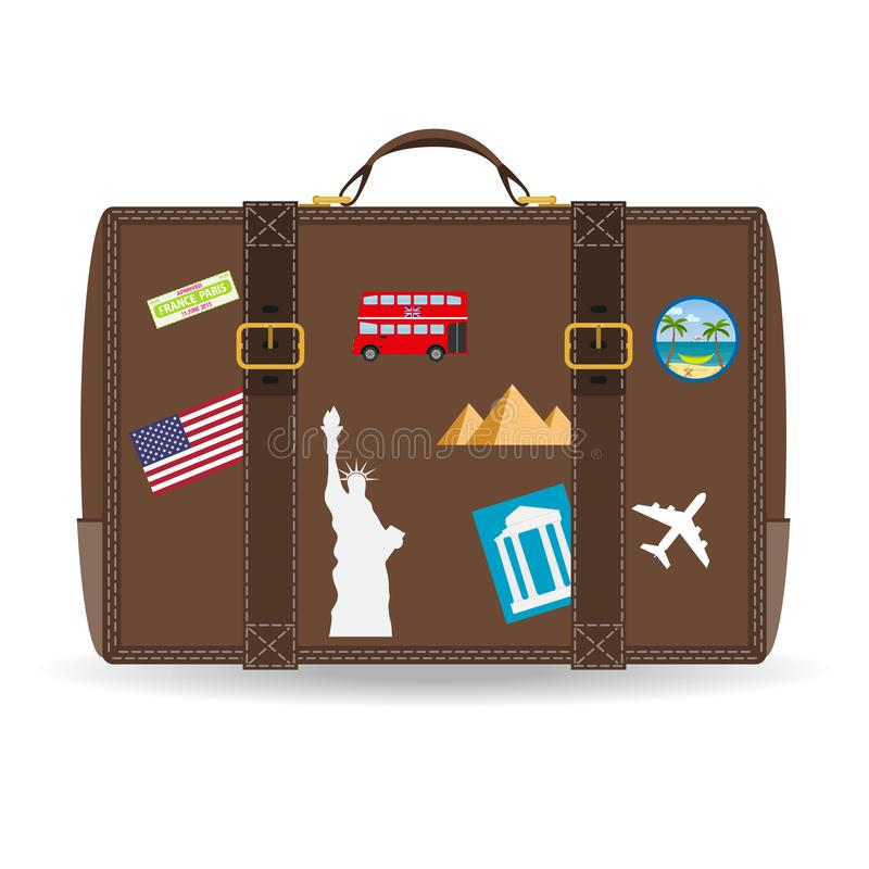 Old vintage leather suitcase with travel stickers. Vector image of travel suitcase with patches stock illustration