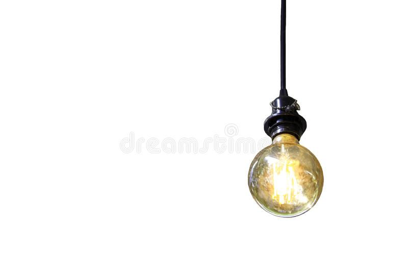 Old vintage light bulb isolated with background.Idea concept , w. Ith clipping path stock photos