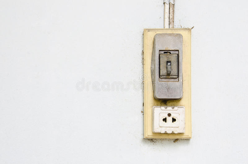 Old Vintage Light Switch And Electric Plug Socket. Stock Image ...