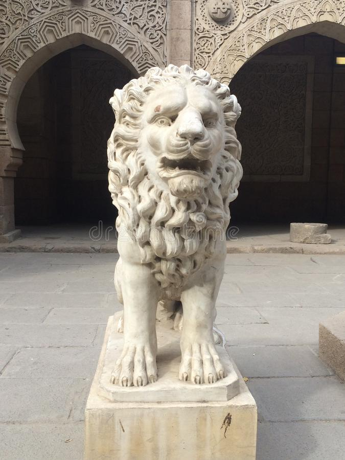Old vintage lion in Manial Palace. In manial palace in cairo Egypt royalty free stock photography