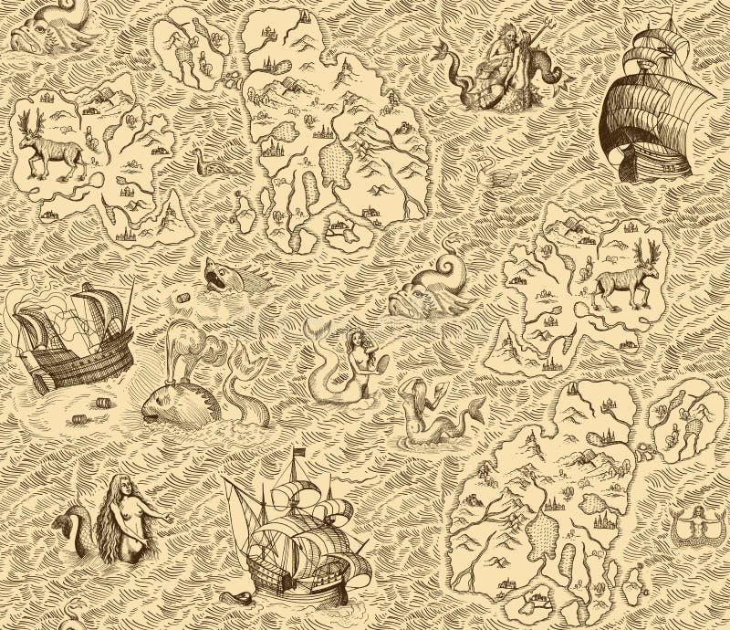 Old vintage map with islands vector illustration