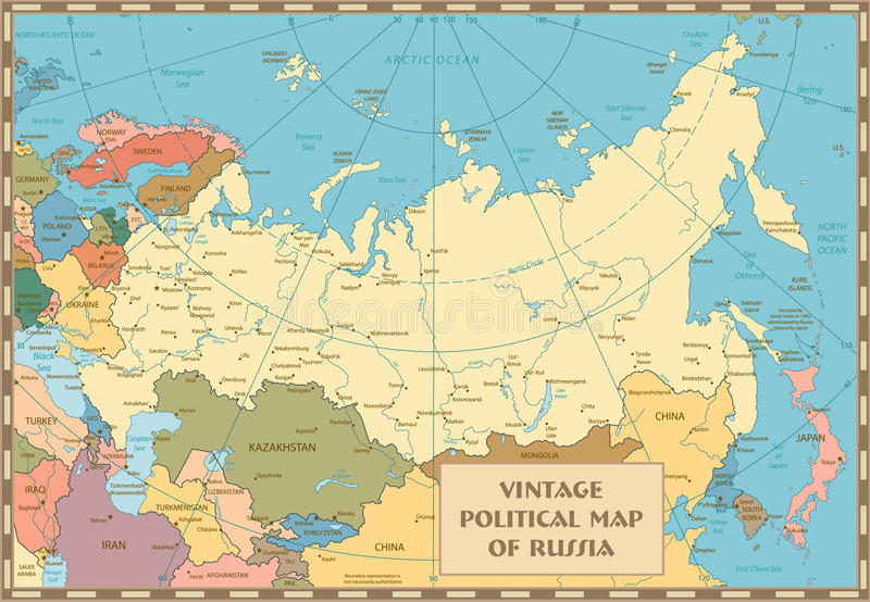 Old vintage map of Russian Federation. With separated layers stock illustration