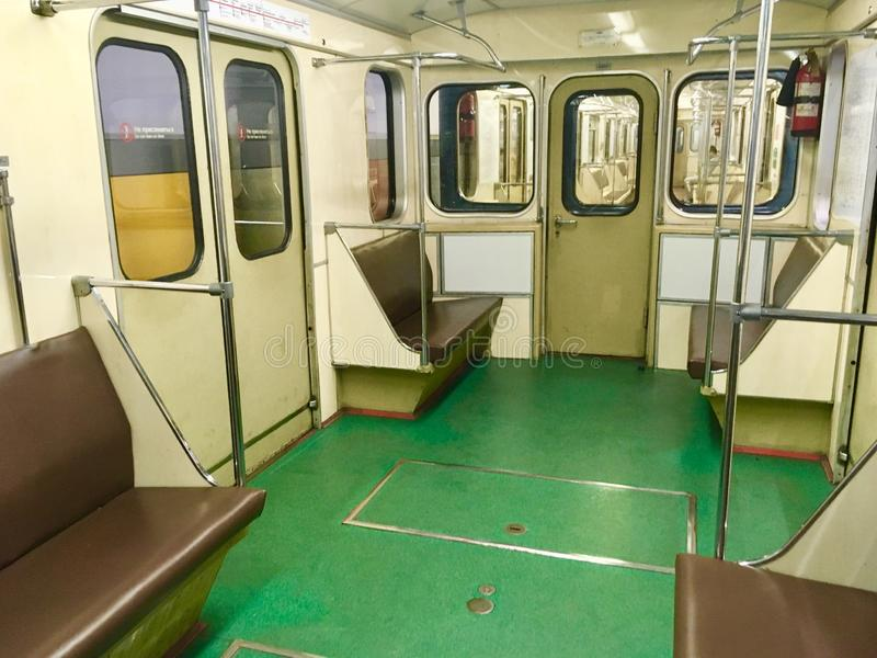 Vintage Moscow Metro train. Old vintage Moscow Metro train empty operating during late hours, Moscow, Russia royalty free stock photos