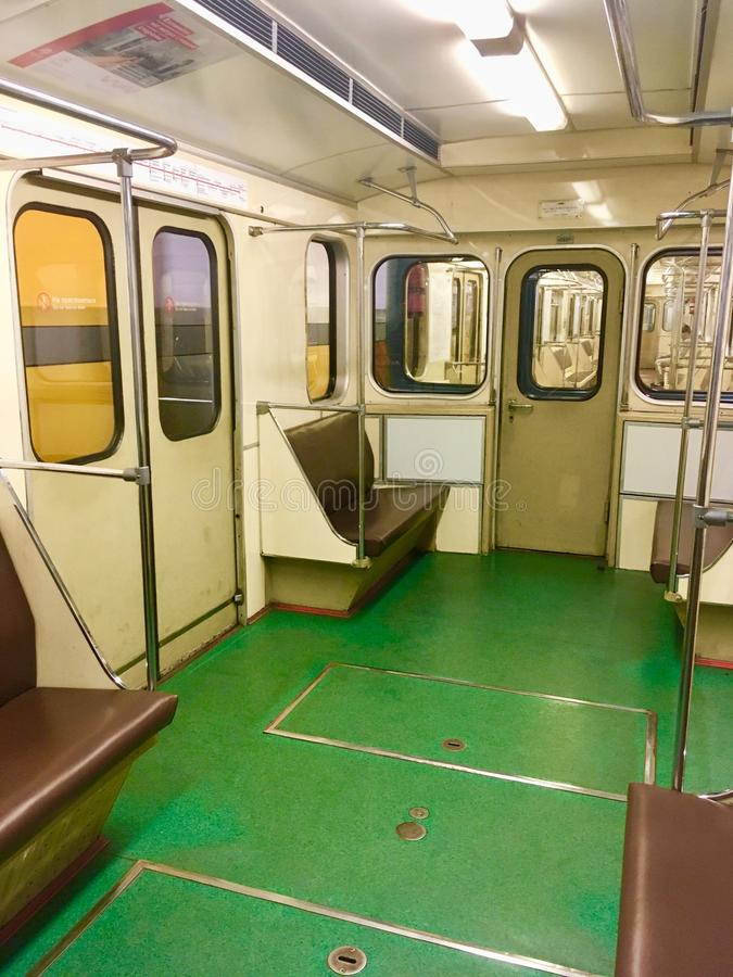 Vintage Moscow Metro train inside. Old vintage Moscow Metro train empty operating during late hours, Moscow, Russia stock image
