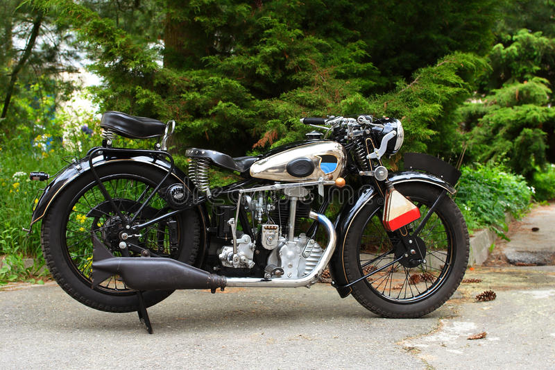Old vintage motorcycle stock photo