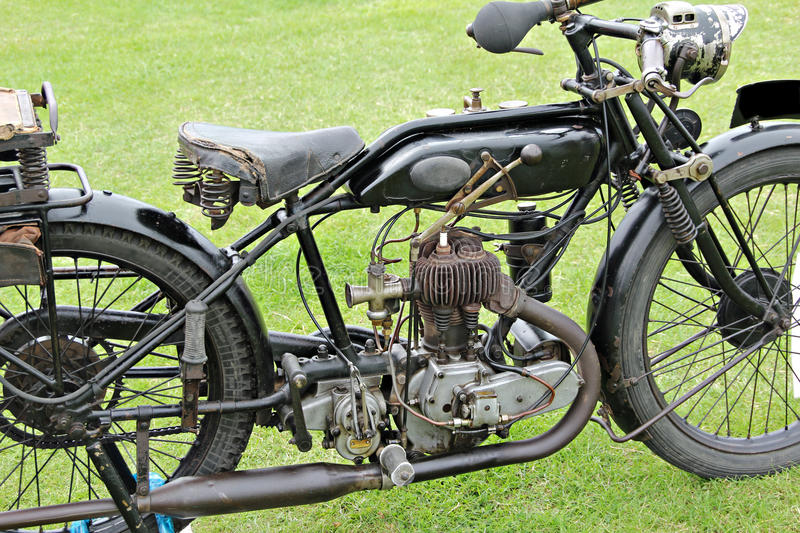 Old vintage motorcycle. Photo of an old vintage motorcycle at the whitstable classic vehicle show royalty free stock images