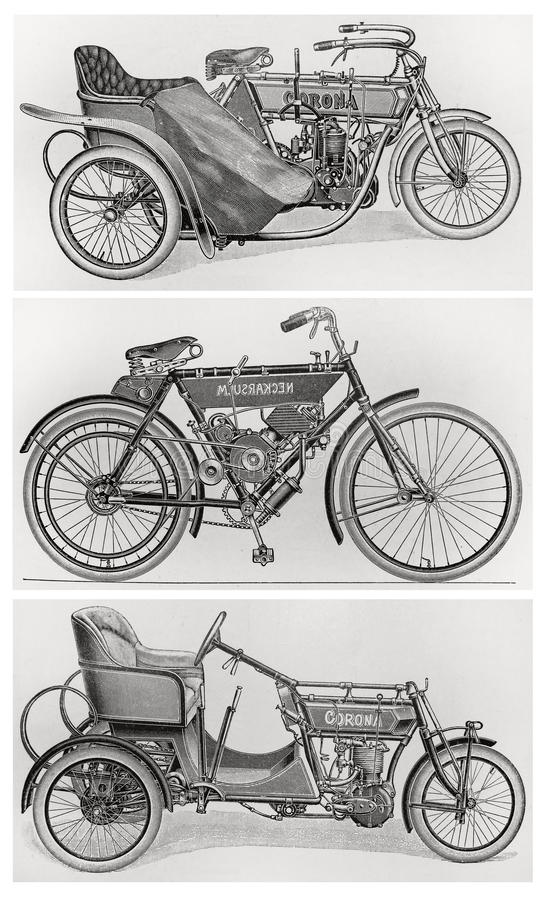 Old vintage motorcycles. From the beginning of the 20th century. Pictures form an 100 years old encyclopedia book royalty free illustration