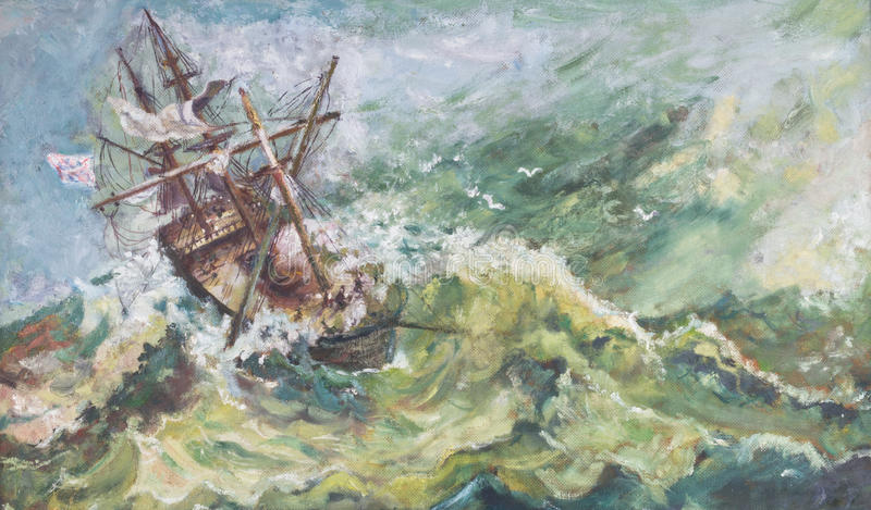 Old Vintage Nautical Coastal Landscape Oil Ship Painting. Old vintage nautical coastal landscape ship oil painting with the sail boat breaking up in stormy sea vector illustration