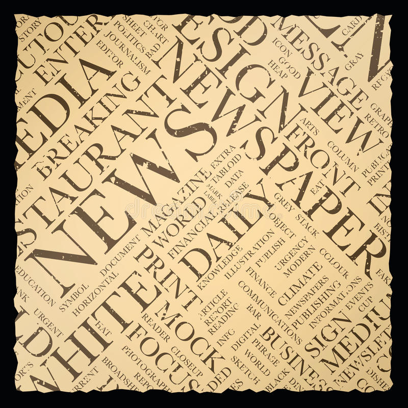 Old Vintage Newspaper Vector Background Texture Word Cloud Stock